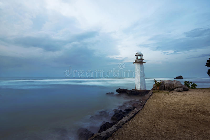 Lighthouse on the carita beach. Banten, indonesia stock images