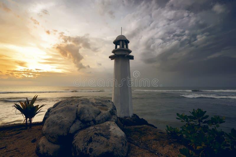 Lighthouse on the carita beach. Banten, indonesia stock photos