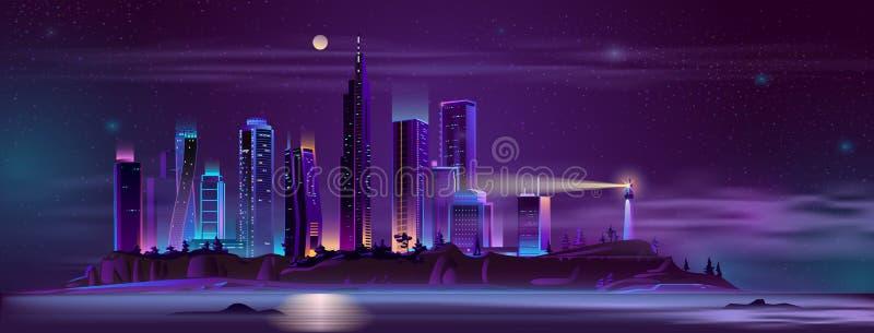 Lighthouse on city bay shore cartoon vector stock illustration