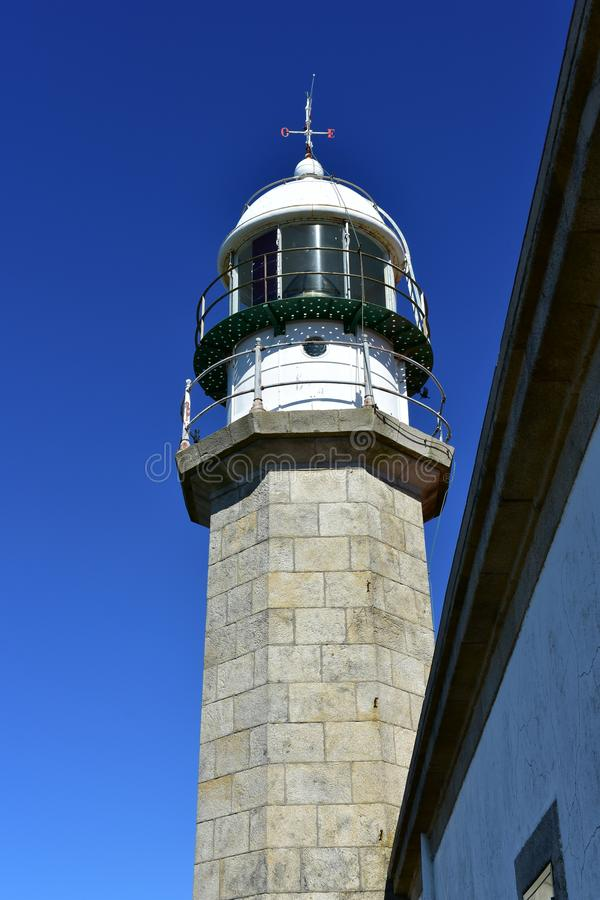 Lighthouse closeup. Sunny day, blue sky. Galicia, Spain. royalty free stock photo