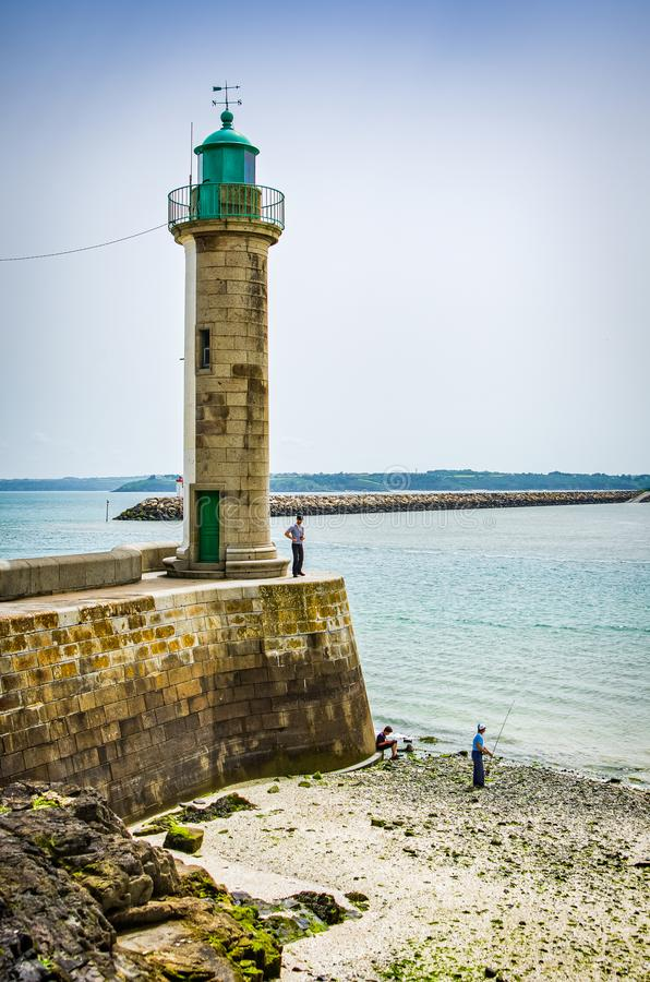 Lighthouse on coast in Saint Brieuc in France.  stock photo