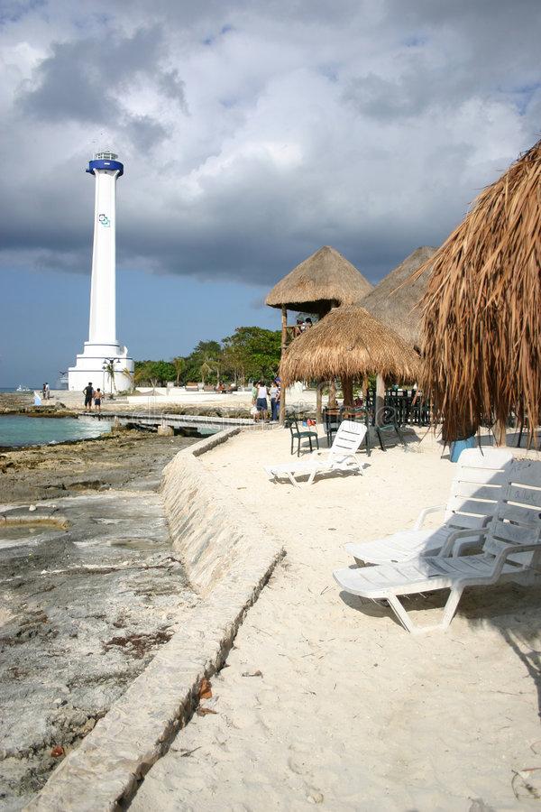 Lighthouse on Cozumel royalty free stock images