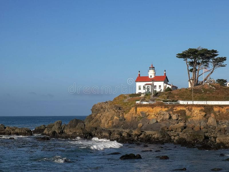 The lighthouse at crescent city along the nth california coast. The lighthouse at crescent city along the northern california coast royalty free stock image