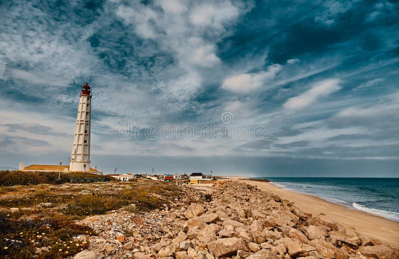 Lighthouse on Culatra Island in Ria Formosa, Portugal. Lighthouse on Culatra Island in Ria Formosa Natural Park, Portugal royalty free stock image