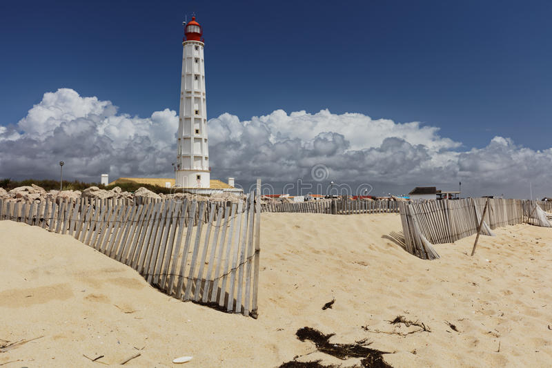 Lighthouse on Culatra Island in Ria Formosa, Portugal. Lighthouse on Culatra Island in Ria Formosa Natural Park, Portugal stock photography