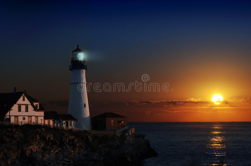 Lighthouse at dawn royalty free stock photo