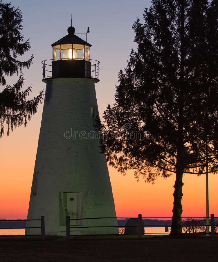 Lighthouse at dawn royalty free stock images