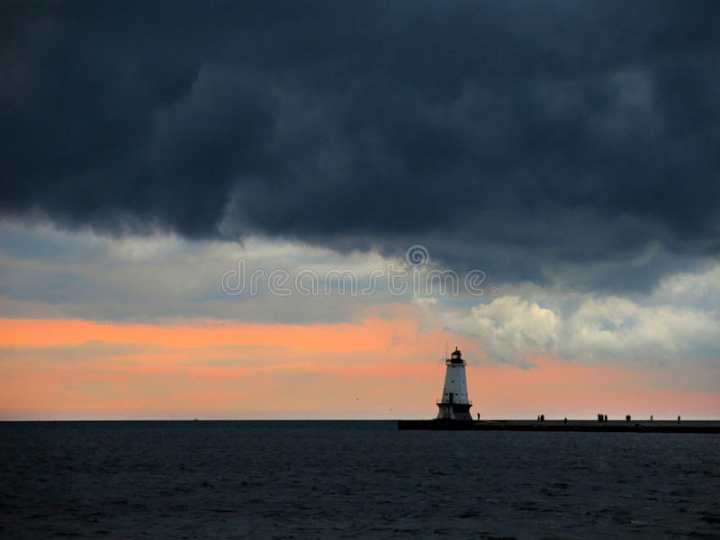 Lighthouse In The Distance, Horizontal Stock Images