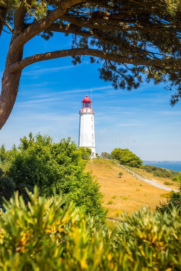 Lighthouse Dornbusch on the island Hiddensee, Ostsee, Germany. Classic view of famous Lighthouse Dornbusch on the beautiful island Hiddensee with blooming stock photography