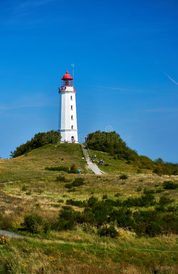 Lighthouse on Isle Hiddensee. Lighthouse Dornbusch on Isle Hiddensee royalty free stock images