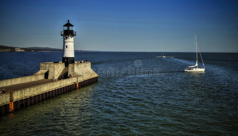 Lighthouse in the Duluth harbor. Tourist attraction in the Duluth, Minnesota harbor royalty free stock photography
