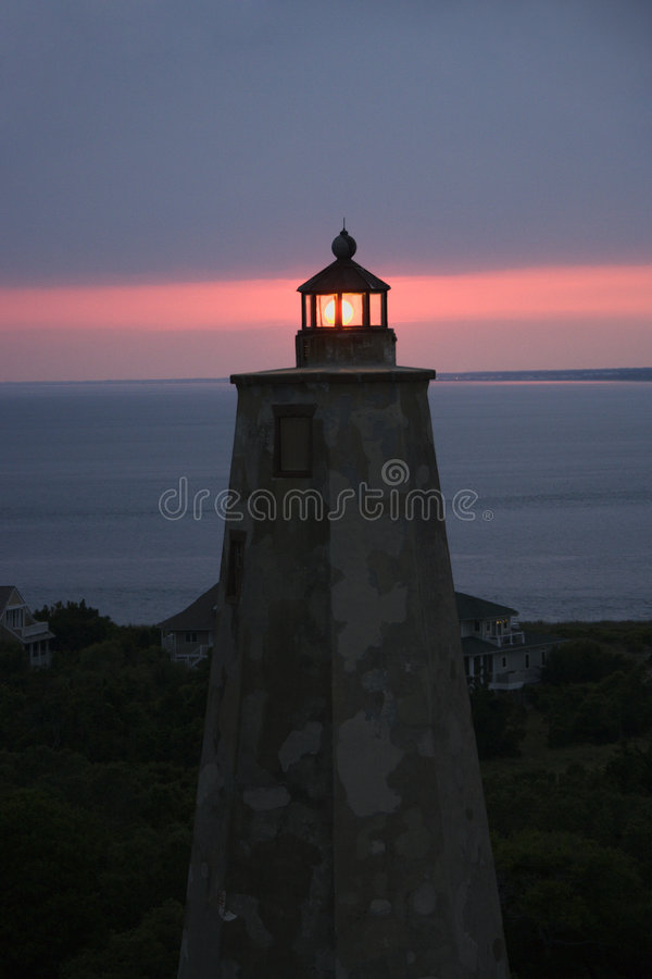 Download Lighthouse at dusk. stock photo. Image of evening, building - 3417102