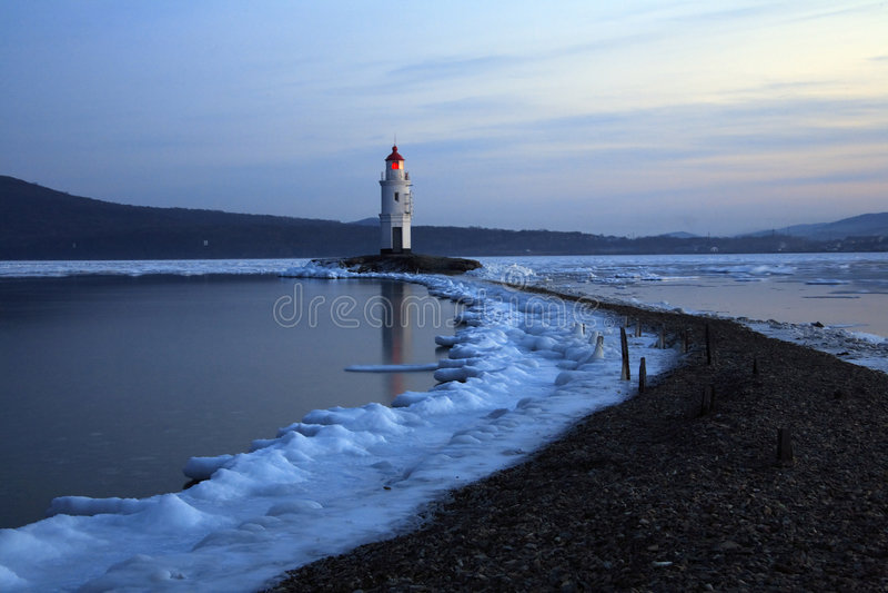 Lighthouse at dusk,Vladivostok royalty free stock photos