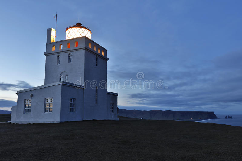 Lighthouse at Dyrholaey in iceland royalty free stock images