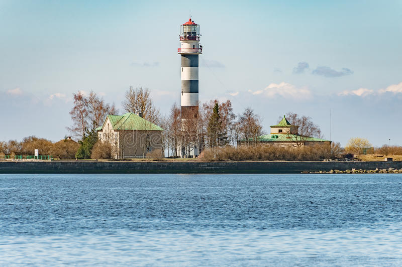 Lighthouse at entering to seaport of Riga town, Latvia.  royalty free stock image