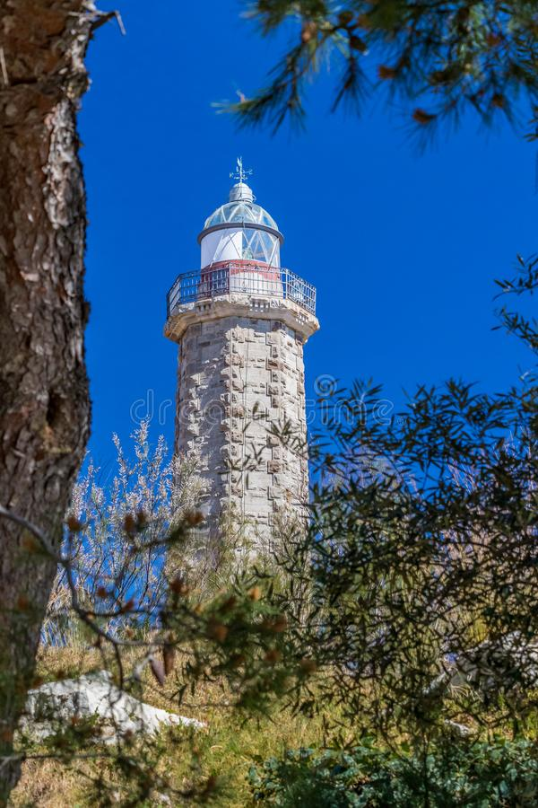 Lighthouse in Estepona, Spain. The lighthouse in Estepona, Spain taken through pine trees against a clear blue sky royalty free stock photos