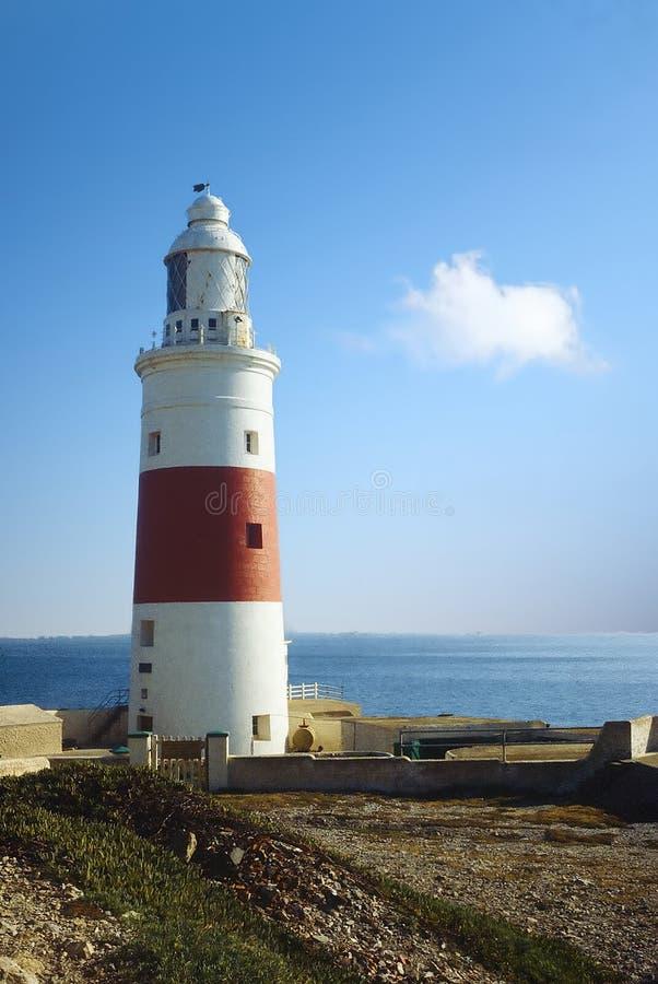 Lighthouse at Europa Point Gibraltar stock photo