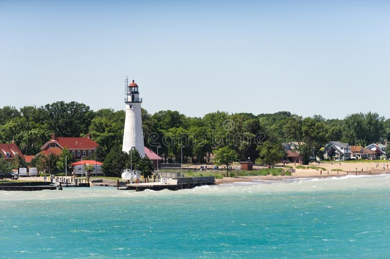 The lighthouse at Fort Gratiot, MI stock images