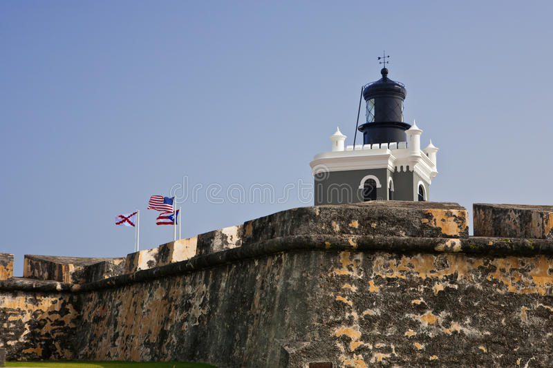 Lighthouse at Fort Morro in San Juan, Puerto Rico royalty free stock image