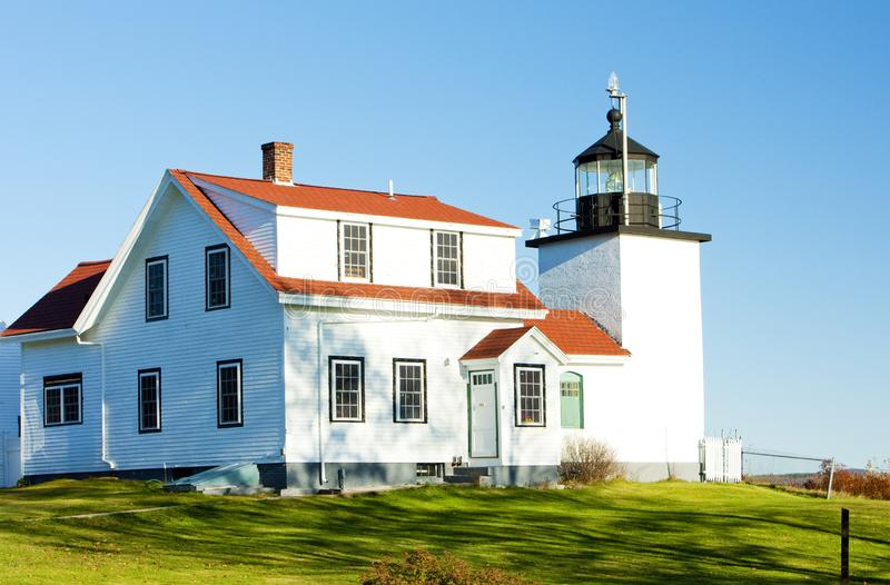 Lighthouse Fort Point Light, Stockton Springs, Maine, USA. Outdoor, outdoors, outside, exterior, exteriors, america, north, united, states, new, england royalty free stock photos