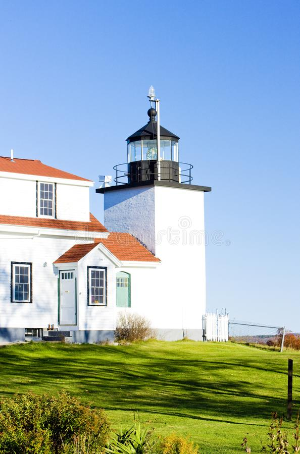 Lighthouse Fort Point Light, Stockton Springs, Maine, USA. Outdoor, outdoors, outside, exterior, exteriors, america, north, united, states, new, england royalty free stock image