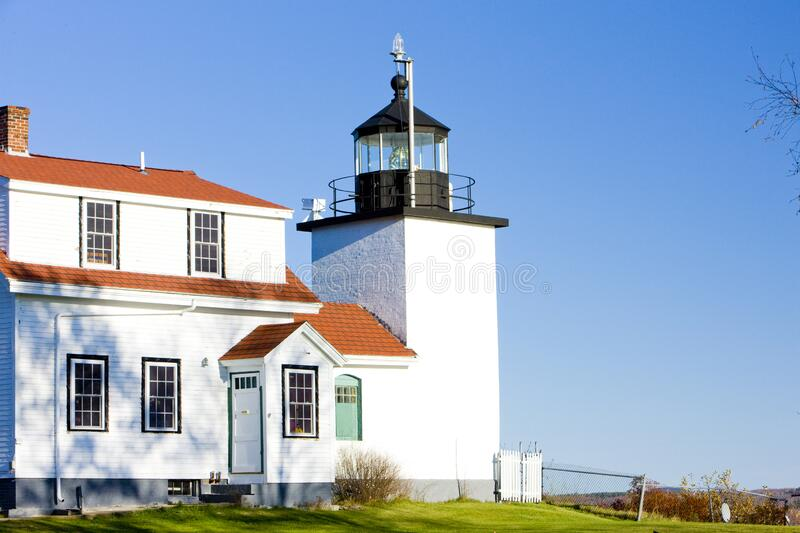 Lighthouse Fort Point Light, Stockton Springs, Maine, USA stock photo
