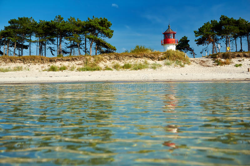 Lighthouse Gellen on Isle of Hiddensee. In Baltic Sea stock photos