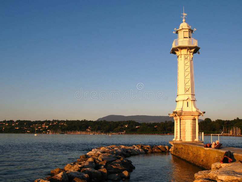Lighthouse in Geneva, Switzerland stock images