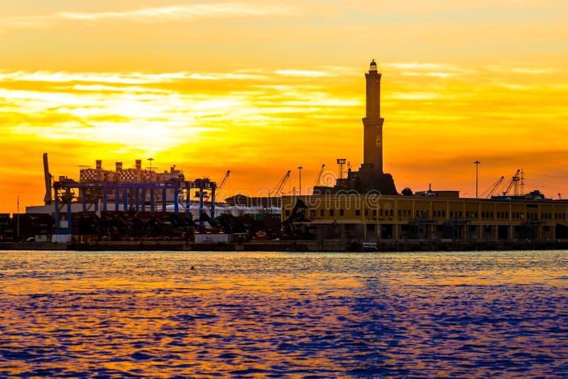 The lighthouse of Genoa called Lanterna at sunset, Italy stock photos