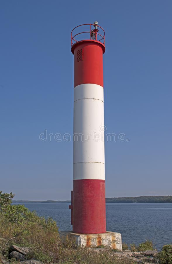 Lighthouse on a Great Lakes Point. On Lake Huron in Killbear Provincial Park in Ontario stock image