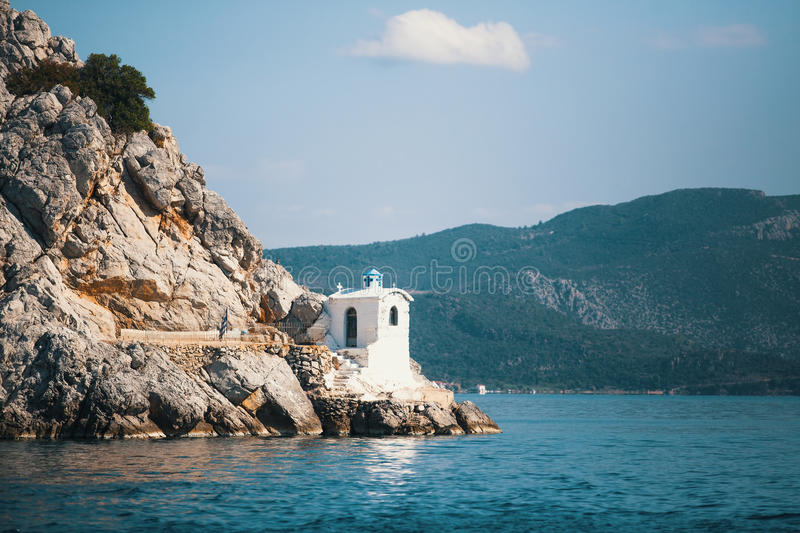 Lighthouse on the Greek island in the Aegean sea. Nature. Lighthouse on the Greek island in the Aegean sea royalty free stock photos