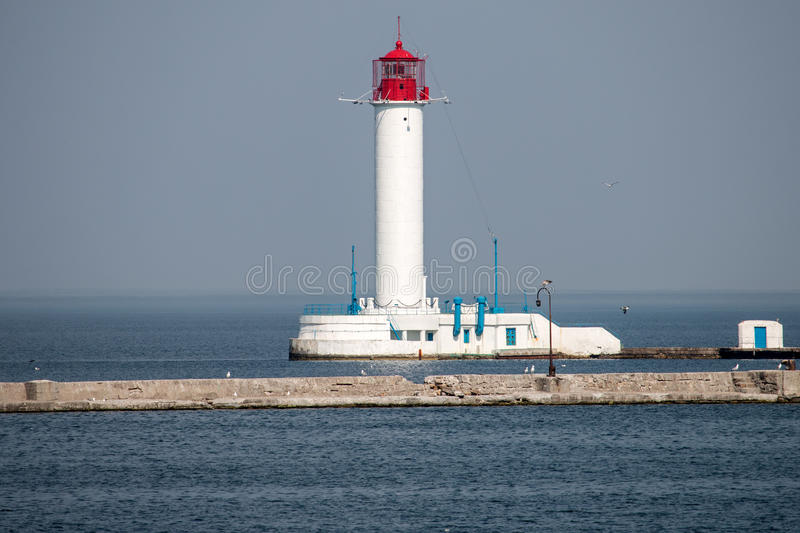 Lighthouse in the gulf of Odessa royalty free stock images