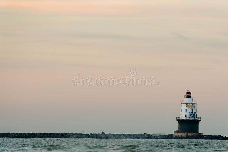 Lighthouse. Harbor light refuge lighthouse Delaware stock photo