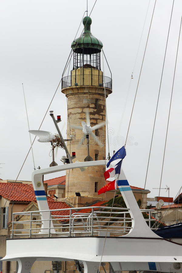 Lighthouse in harbour of Le Grau-du-Roi, France stock images
