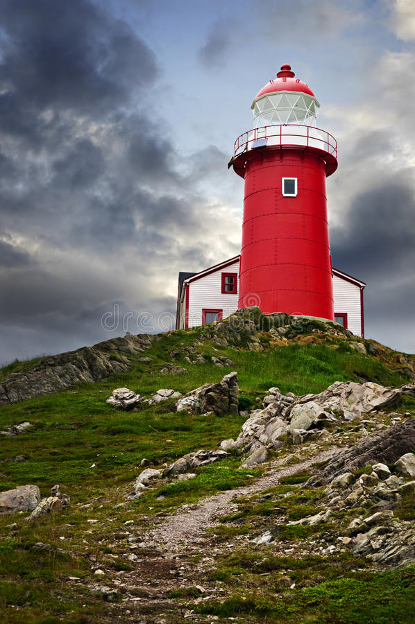 Lighthouse on hill royalty free stock image