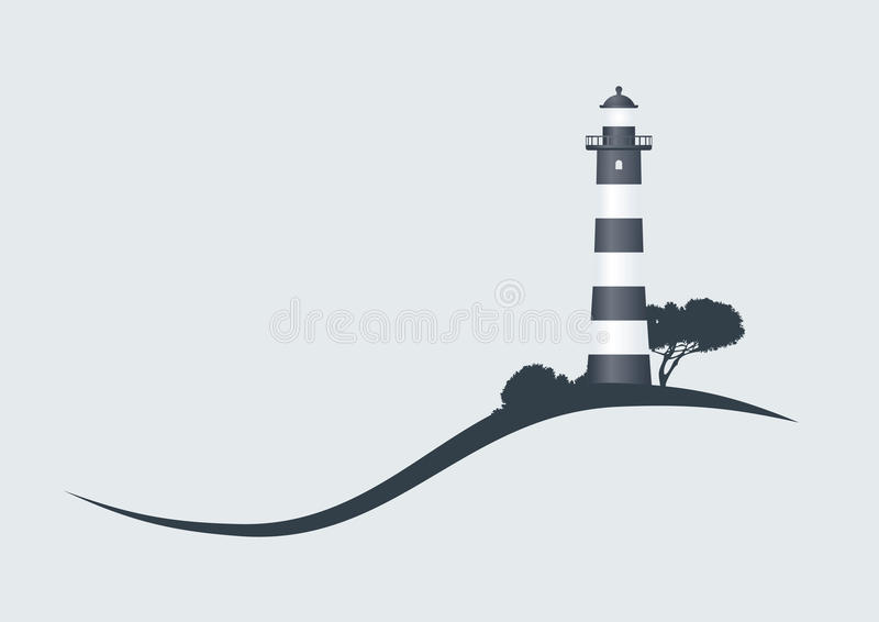 Lighthouse. Hillside black striped lighthouse vector illustration