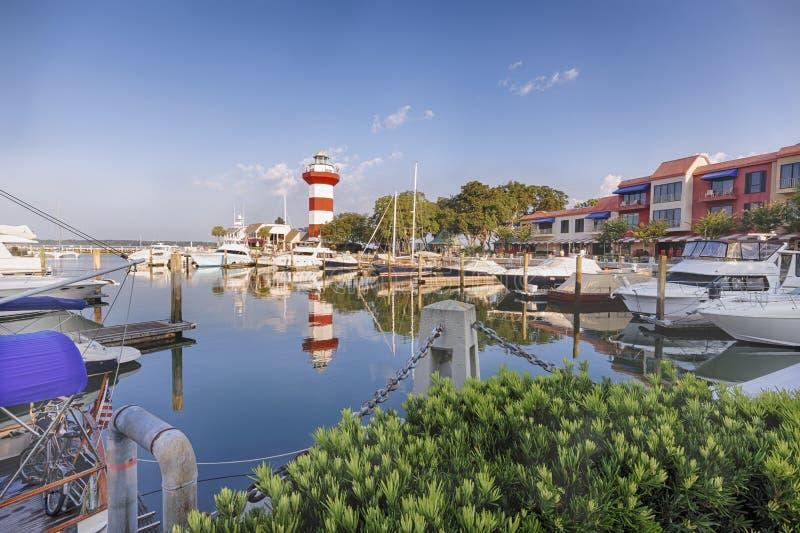 Lighthouse on Hilton Head Island. Harbor with lighthouse on Hilton Head Island stock photo
