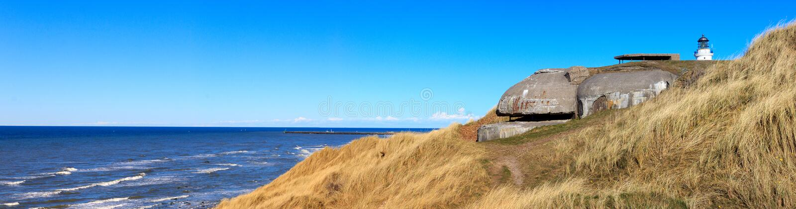 Lighthouse of Hirtshals with bunker stock images