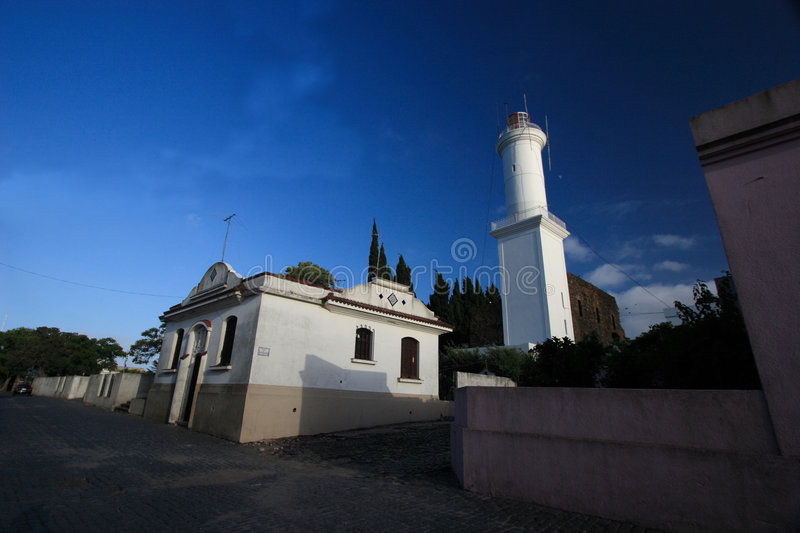 Lighthouse of Historic Quarter of the City of Colonia del Sacramento, Uruguay. Historic Quarter of the City of Colonia del Sacramento, Uruguay Founded by the stock image