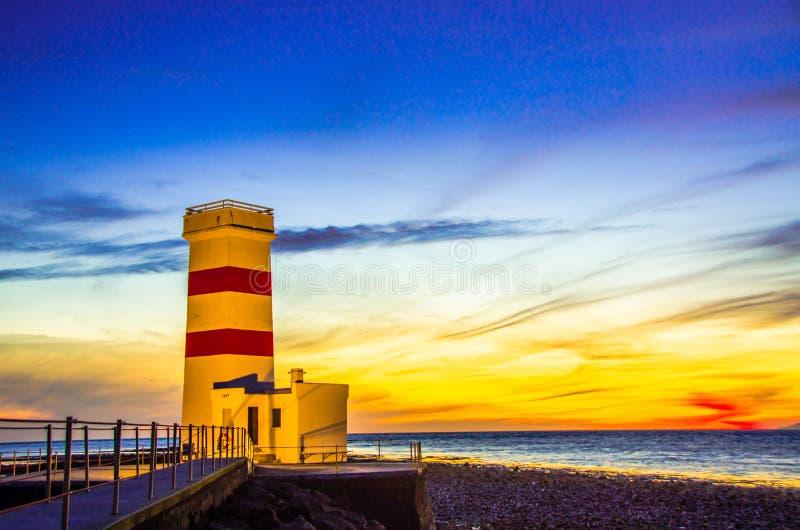 Lighthouse at Iceland coast royalty free stock image