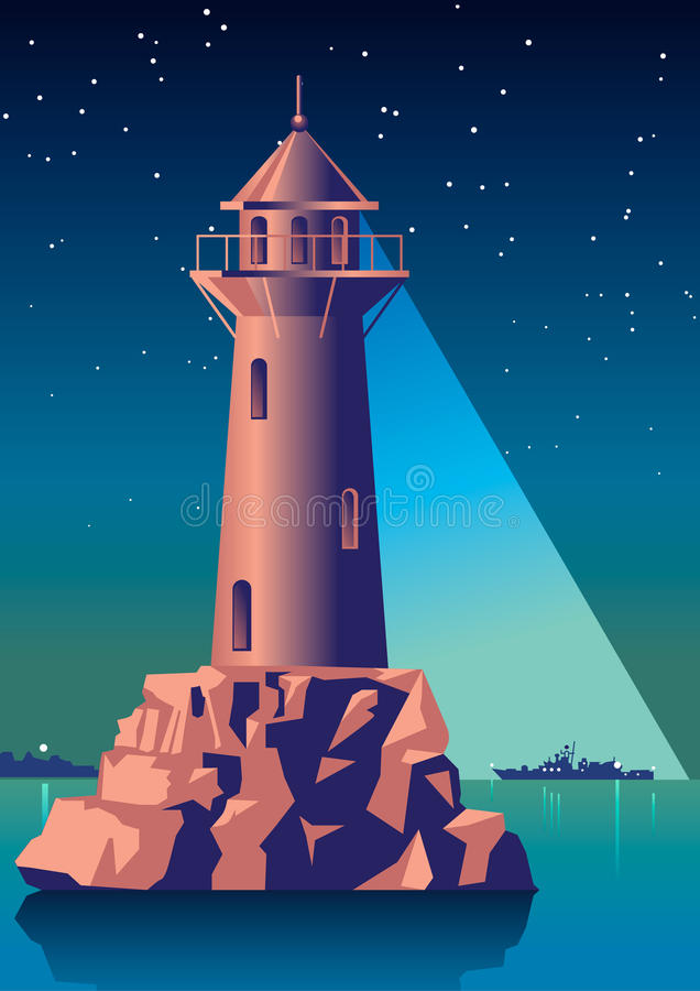 Lighthouse illuminates the ship in night sea. Vintage Illustration Art Deco stock illustration