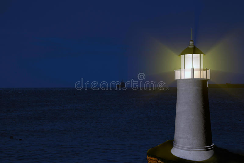 Download Lighthouse stock illustration. Image of beam, sunset - 36492364