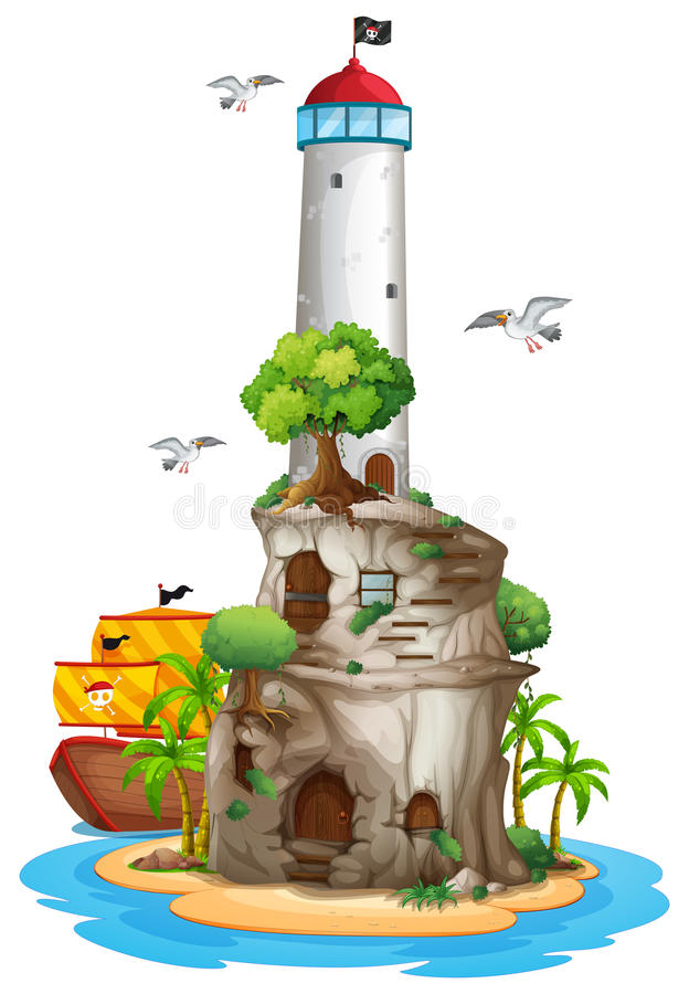 Lighthouse on island vector illustration
