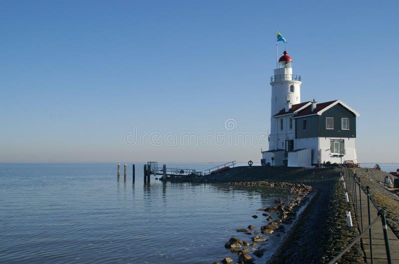 Lighthouse on the island Marken, the Netherlands royalty free stock photo