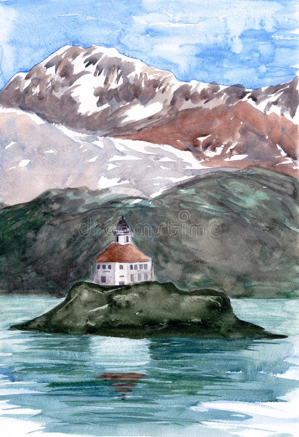 Lighthouse on island. Mountains and hills on background. Watercolor painting. Hand drawn illustration. For card, postcard, poster. stock photos