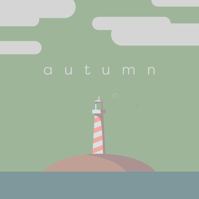 Lighthouse on the island vector illustration. Autumn or fall colors palette. Eps10 vector illustration royalty free illustration