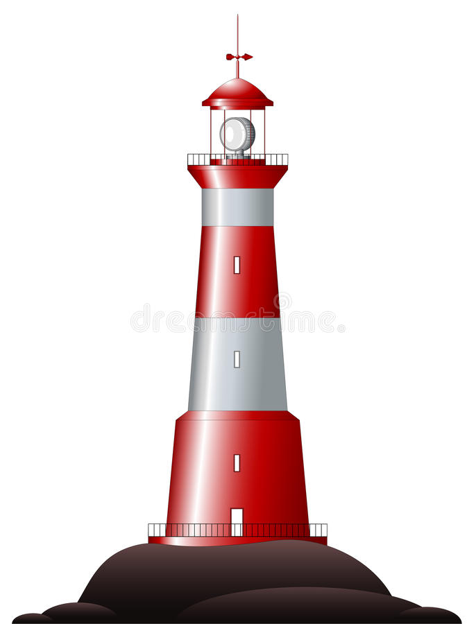 Lighthouse - isolated on white vector illustration