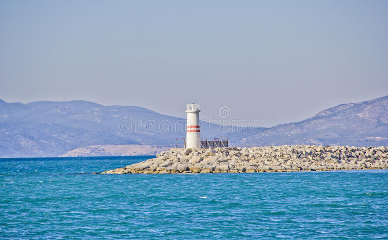 Lighthouse. In Izmir sea beach ,turkey royalty free stock photography