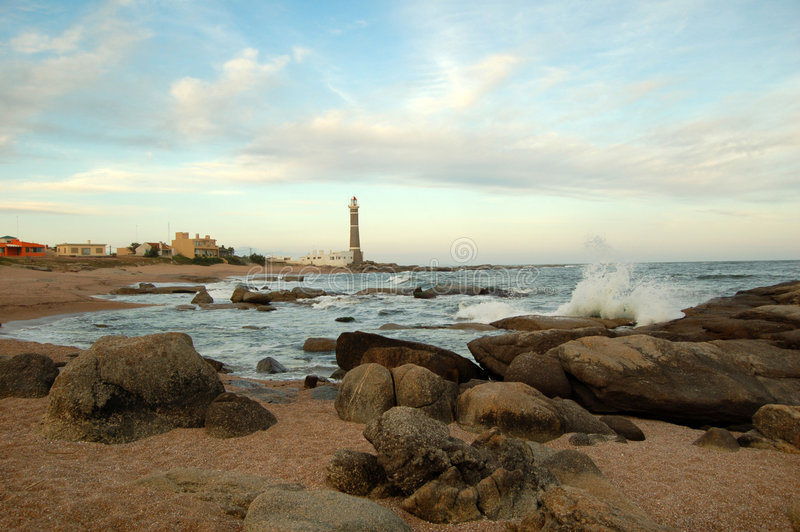 Download Lighthouse in Jose Ignacio stock image. Image of surf, summer - 416817