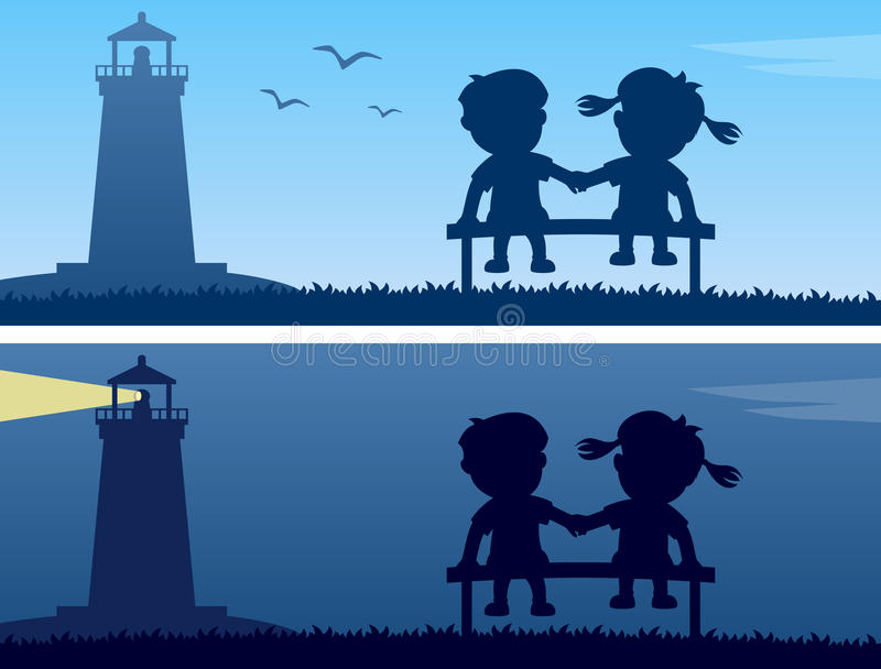 Download Lighthouse And Kids Silhouettes Stock Vector - Image: 28111029